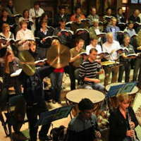 Members of Osnabruck Marienkantorei Choir and Orchestra rehearsing Franck's 'Les Beatitudes' in Germany
